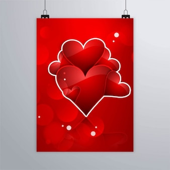 Red poster with red hearts