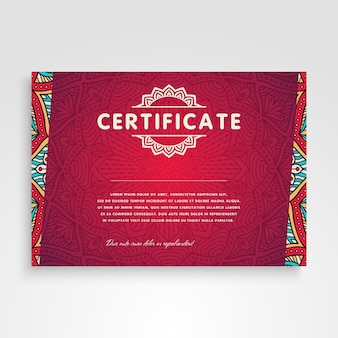 Red retro ethnic certificate template