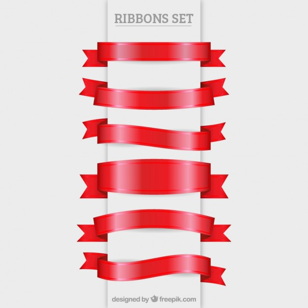 Red ribbons set
