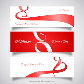 Red ribbons women's day banners