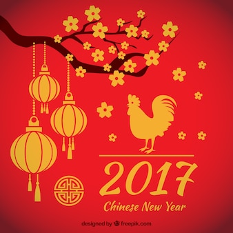 Red rooster year background with branch and lanterns