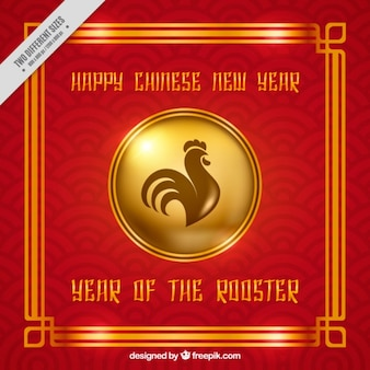 Red rooster year background with golden details