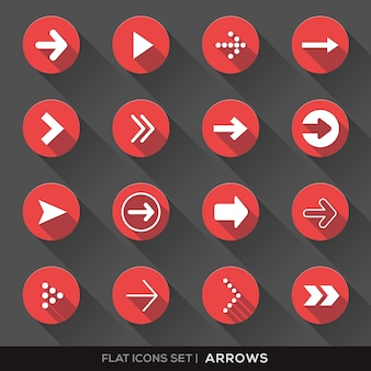 Red round icons with arrows