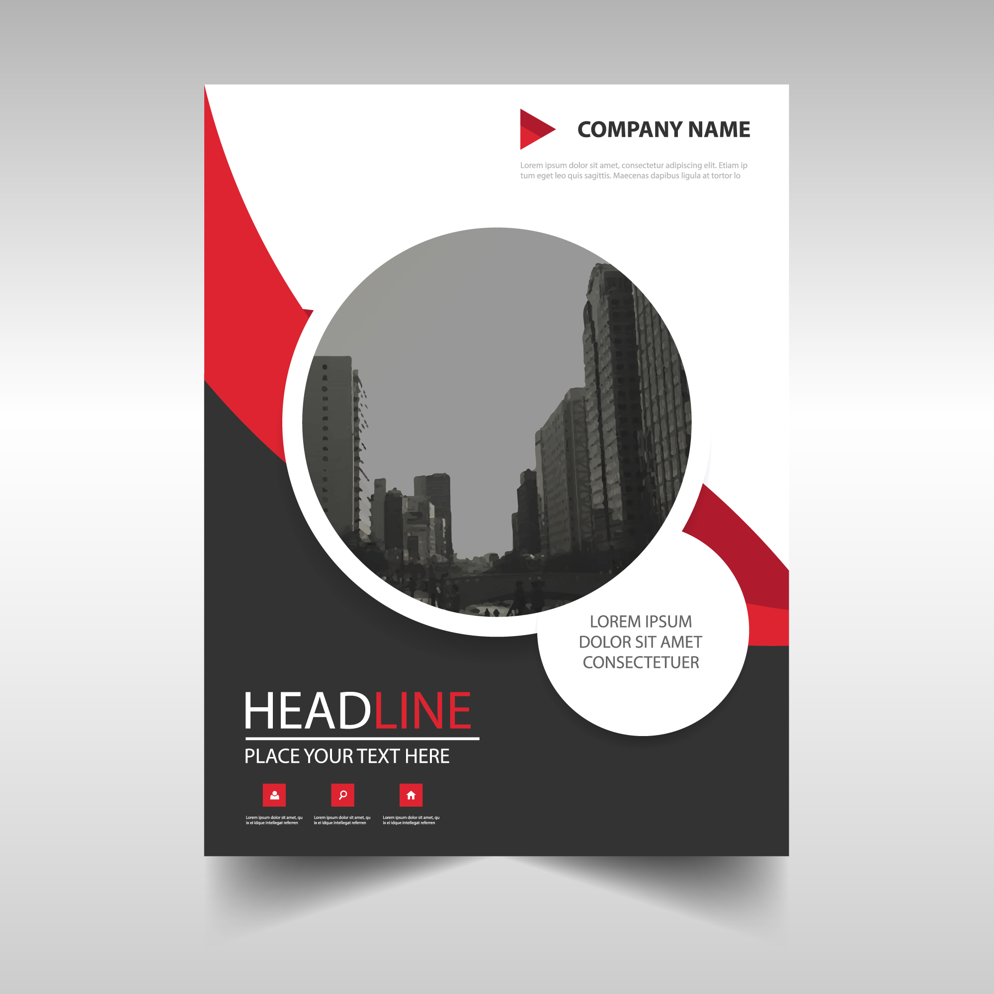 Red round modern annual report template