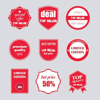 Red set of flat sale stickers