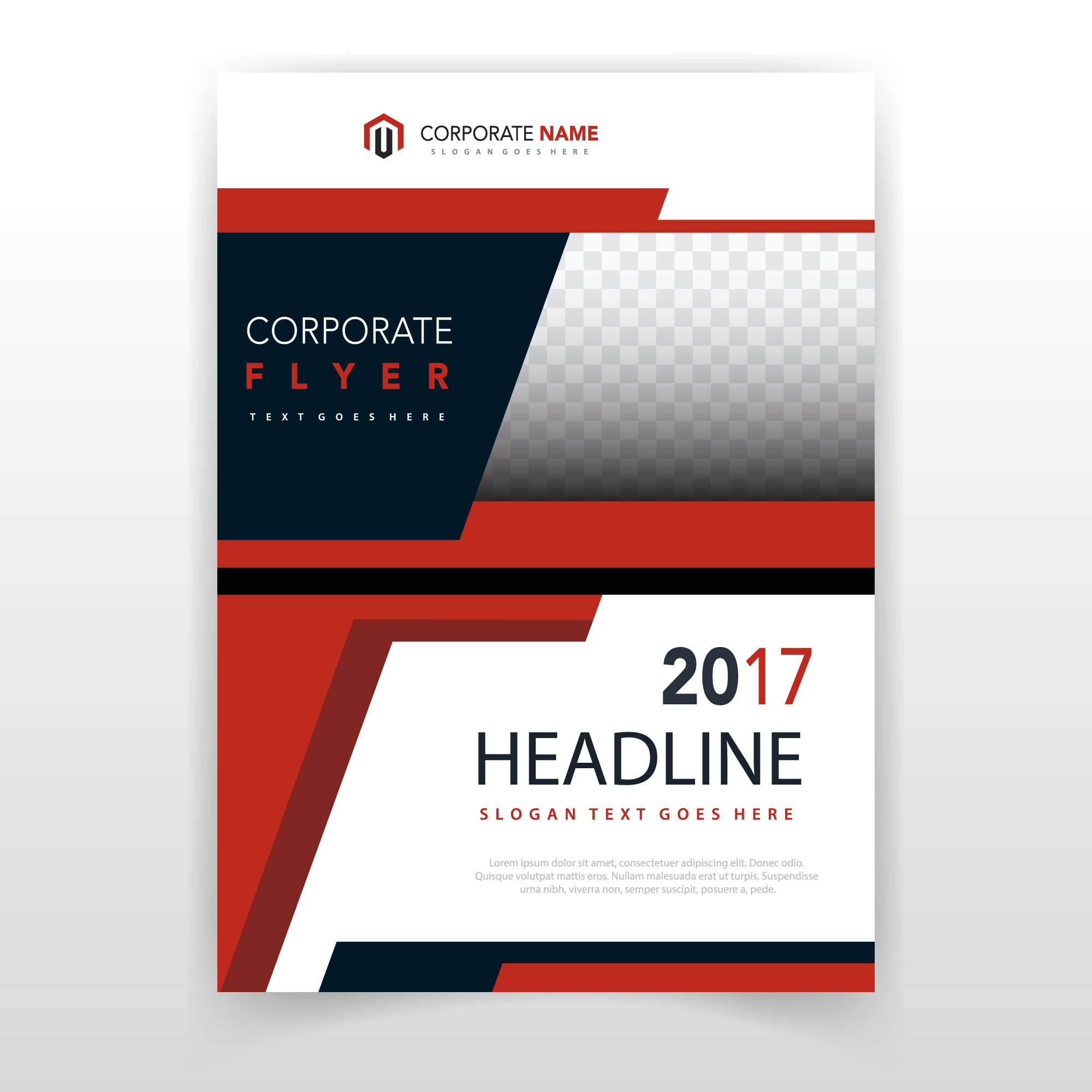 Red shape brochure cover template