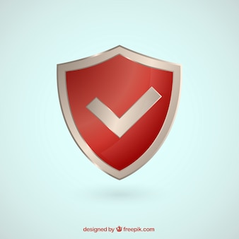 Red shield with check symbol