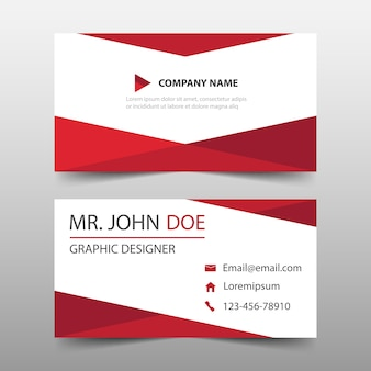 Red triangle corporate business card template