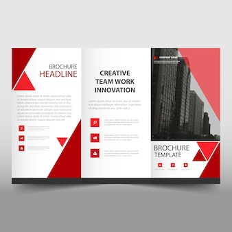 Red trifold business brochure template