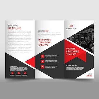 Red trifold leaflet template