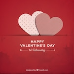 Red Valentine background with paper hearts