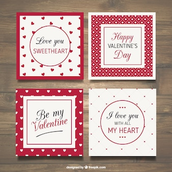 Red valentine day card collection