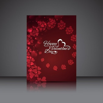 Red valentines card with hearts swirl