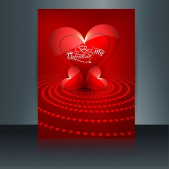 Red Valentines card with red hearts