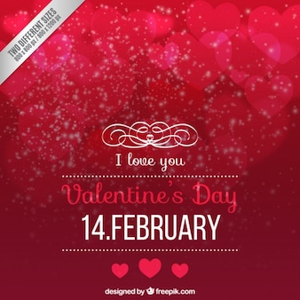 Red valentines day background in bokeh style