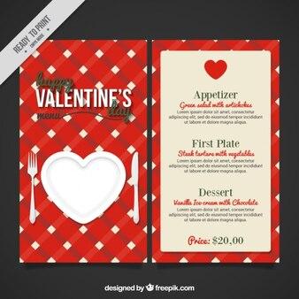 Red valentines day menu