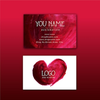 Red watercolor design business card