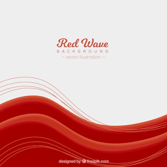 Red waves background with flat design