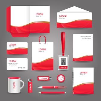 赤い波状の抽象的なビジネスの文房具のテンプレート