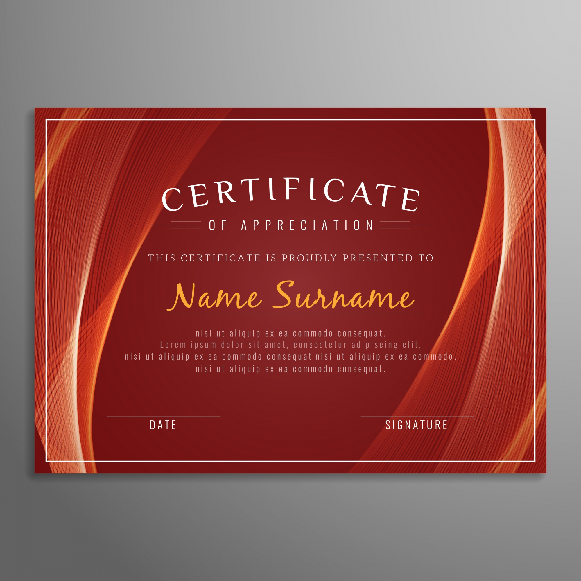 Red wavy certificate template