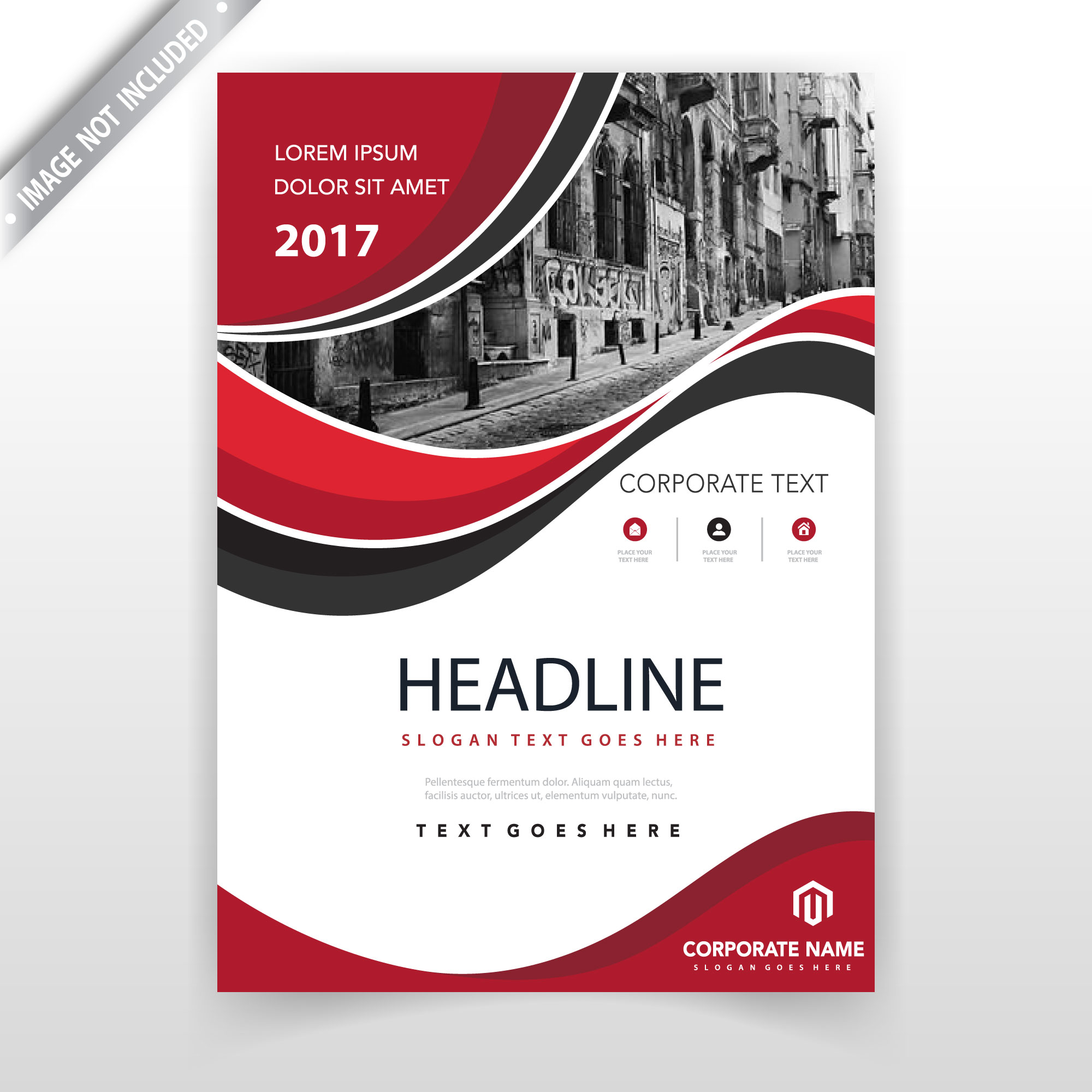 Red wavy leaflet cover design template