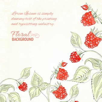 Redberries floral background