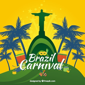 Redentor Christ Brazil carnival background