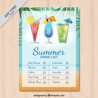 Refreshing drink list with palm leaves