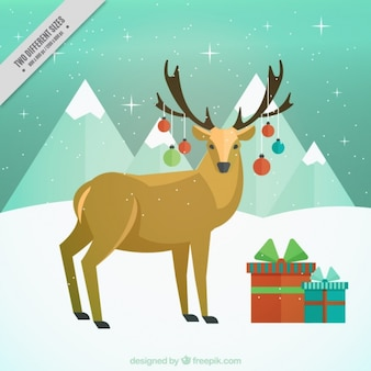 Reindeer background decorated with christmas balls