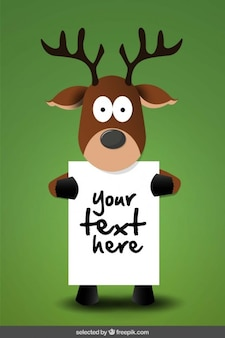 Reindeer holding a poster template