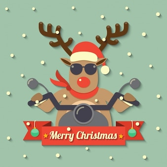 Reindeer mounted on a motorcycle