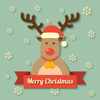 Reindeer with a merry christmas message
