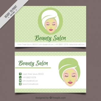 Relaxed woman beauty salon dotted card