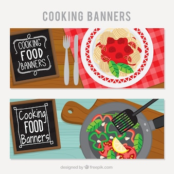 Restaurant banners with delicious dishes