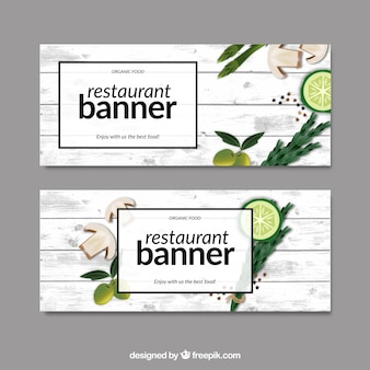 Restaurant banners with food on a wooden table