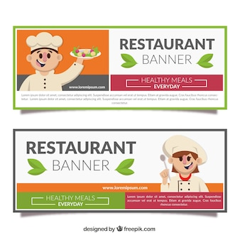 Restaurant banners with friendly chef