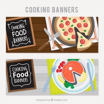 Restaurant banners with tasty dishes