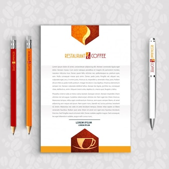 Restaurant Coffee Letter and Pencils logo set