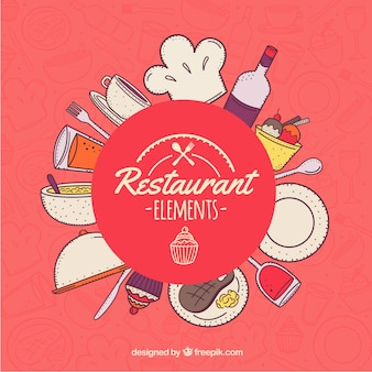 Restaurant elements background design