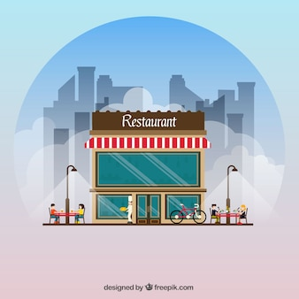 Restaurant facade background