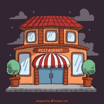Restaurant facade in cartoon style