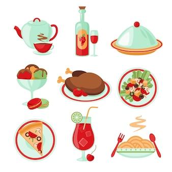 Restaurant food drink menu decorative icons set isolated vector illustration