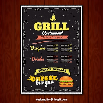 Restaurant grill menu in vintage style