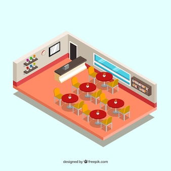 Restaurant interior with red tables in isometric perspective