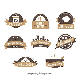 Restaurant logos, brown colors