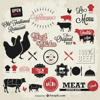 Restaurant menu and animals labels
