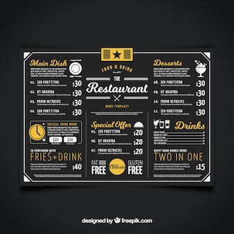 Restaurant menu, black color