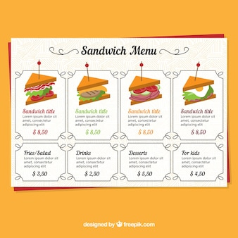 Restaurant menu, sandwich