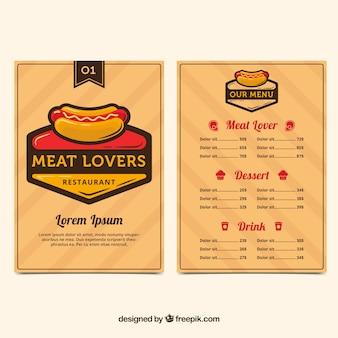 Restaurant menu with a hot dog
