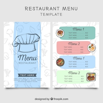 Restaurant menu with chef cap sketch